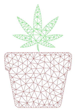 Mesh cannabis pot polygonal icon vector illustration. Model is based on cannabis pot flat icon. Triangular network forms abstract cannabis pot flat carcass.