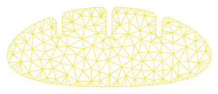 Mesh bread polygonal icon vector illustration. Carcass model is based on bread flat icon. Triangular mesh forms abstract bread flat model.