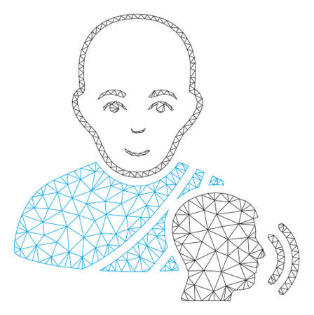 Mesh buddhist confession polygonal 2d vector illustration. Model is based on buddhist confession flat icon. Triangle network forms abstract buddhist confession flat model.
