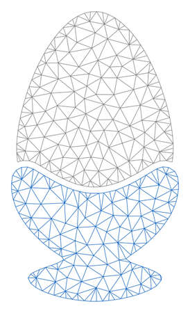 Mesh boiled egg polygonal icon vector illustration. Model is based on boiled egg flat icon. Triangular mesh forms abstract boiled egg flat model. Illustration