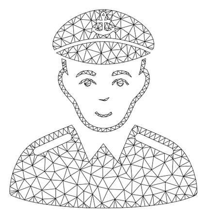 Ilustración de vector de icono poligonal de capitán de malla. El modelo se basa en el icono plano del capitán. La malla del triángulo forma el modelo plano abstracto del capitán. Ilustración de vector