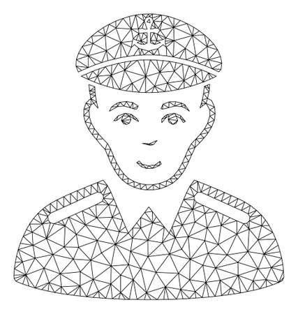 Mesh captain polygonal icon vector illustration. Model is based on captain flat icon. Triangle mesh forms abstract captain flat model.