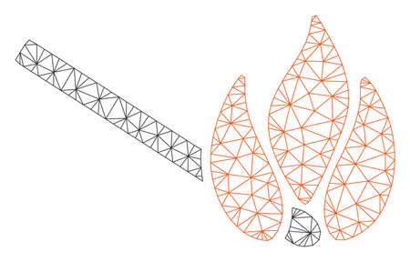 Mesh burn match polygonal icon vector illustration. Model is based on burn match flat icon. Triangle net forms abstract burn match flat model.