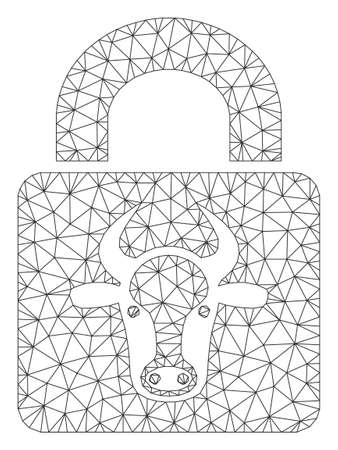 Mesh bull lock polygonal icon vector illustration. Carcass model is based on bull lock flat icon. Triangle network forms abstract bull lock flat model.
