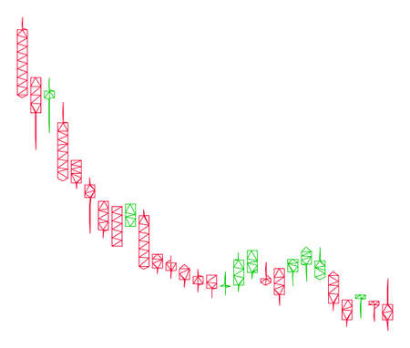 Mesh candlestick chart falling slowdown polygonal symbol vector illustration. Model is based on candlestick chart falling slowdown flat icon.