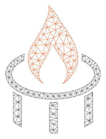 Mesh burner nozzle flame polygonal icon vector illustration. Carcass model is based on burner nozzle flame flat icon. Triangular network forms abstract burner nozzle flame flat model.