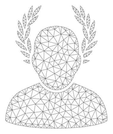 Mesh caesar polygonal 2d vector illustration. Carcass model is based on caesar flat icon. Triangular mesh forms abstract caesar flat model. Ilustrace