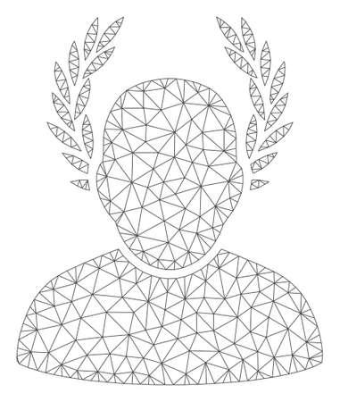 Mesh caesar polygonal 2d vector illustration. Carcass model is based on caesar flat icon. Triangular mesh forms abstract caesar flat model. Illustration