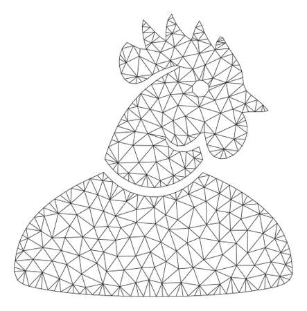 Mesh cock man polygonal 2d vector illustration. Carcass model is based on cock man flat icon. Triangle mesh forms abstract cock man flat carcass.