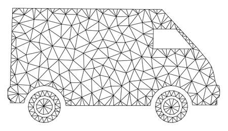 Mesh collector car polygonal icon vector illustration. Carcass model is created from collector car flat icon. Triangular network forms abstract collector car flat carcass.