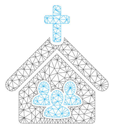 Mesh church people polygonal icon vector illustration. Model is based on church people flat icon. Triangle mesh forms abstract church people flat carcass.