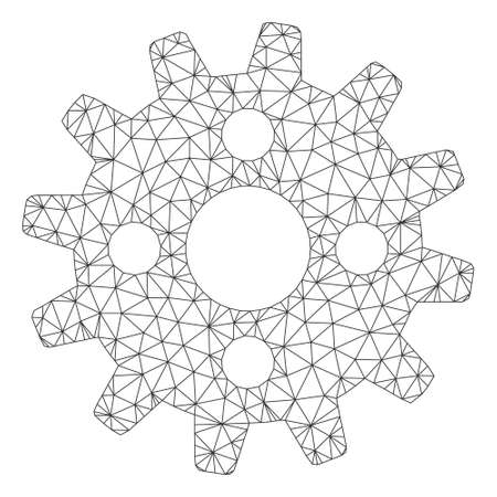 Mesh cogwheel polygonal icon vector illustration. Carcass model is based on cogwheel flat icon. Triangular net forms abstract cogwheel flat carcass. Illustration