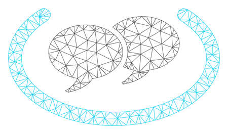 Mesh chat messages polygonal 2d vector illustration. Model is based on chat messages flat icon. Triangular network forms abstract chat messages flat model.