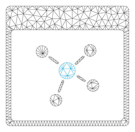 Mesh connections calendar page polygonal 2d vector illustration. Model is based on connections calendar page flat icon. Triangular mesh forms abstract connections calendar page flat model.