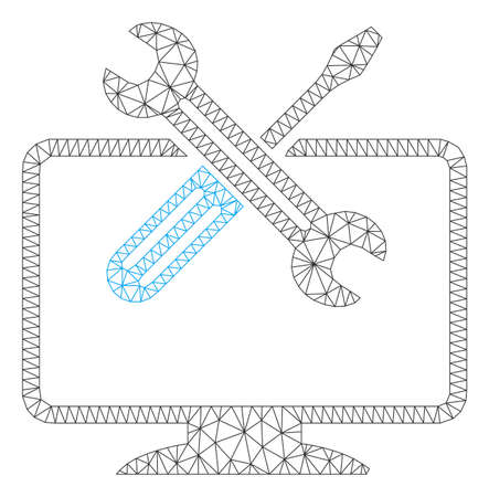 Mesh computer tools polygonal symbol vector illustration. Model is based on computer tools flat icon. Triangular mesh forms abstract computer tools flat model.
