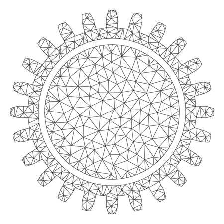 Mesh cogwheel polygonal icon vector illustration. Carcass model is based on cogwheel flat icon. Triangle mesh forms abstract cogwheel flat carcass.