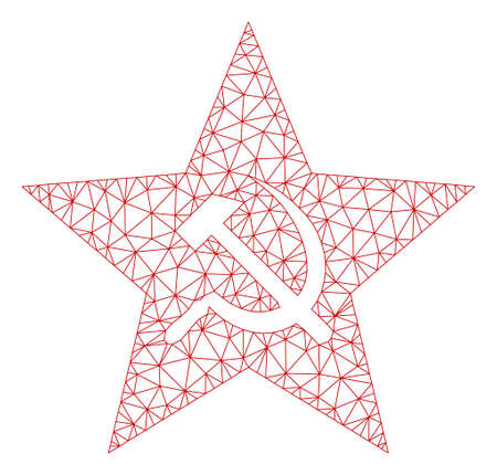 Mesh communism star polygonal icon vector illustration. Carcass model is based on communism star flat icon. Triangular network forms abstract communism star flat model. Ilustração