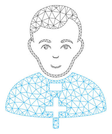 Mesh catholic priest polygonal icon vector illustration. Abstraction is based on catholic priest flat icon. Triangle mesh forms abstract catholic priest flat carcass.