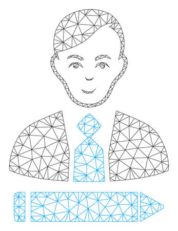 Mesh clerk polygonal 2d vector illustration. Carcass model is based on clerk flat icon. Triangle network forms abstract clerk flat model.