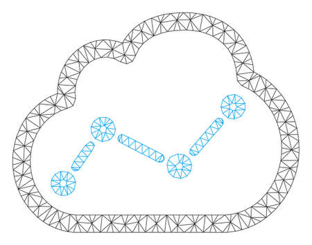 Mesh chart cloud polygonal icon vector illustration. Model is created from chart cloud flat icon. Triangle mesh forms abstract chart cloud flat model.