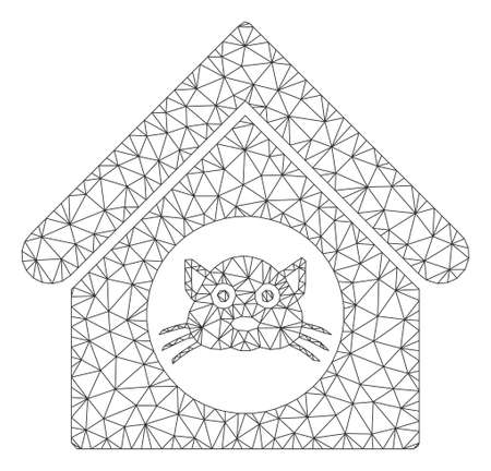 Mesh cat house polygonal icon vector illustration. Model is based on cat house flat icon. Triangular mesh forms abstract cat house flat model. Illustration