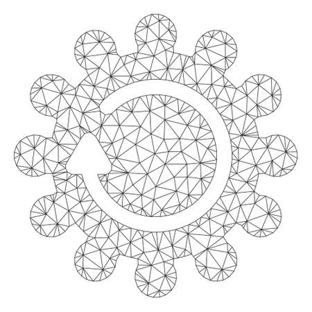 Mesh cog rotation polygonal icon vector illustration. Carcass model is based on cog rotation flat icon. Triangle mesh forms abstract cog rotation flat model. Illustration