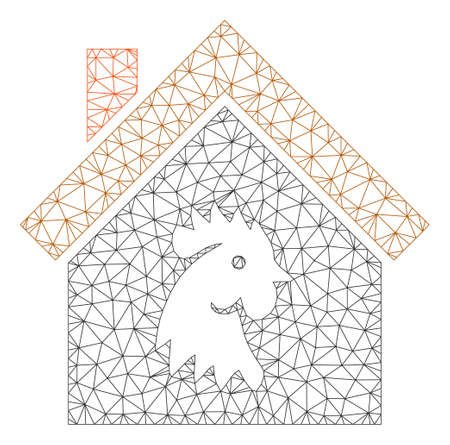 Mesh cock house polygonal symbol vector illustration. Model is based on cock house flat icon. Triangle network forms abstract cock house flat model.