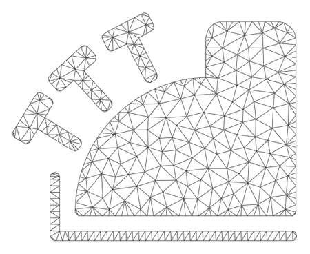 Mesh cash register polygonal 2d vector illustration. Carcass model is based on cash register flat icon. Triangle network forms abstract cash register flat model.