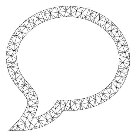 Mesh chat polygonal 2d vector illustration. Model is based on chat flat icon. Triangular network forms abstract chat flat model. wireframe 2D polygonal line network isolated on a white background. Illustration