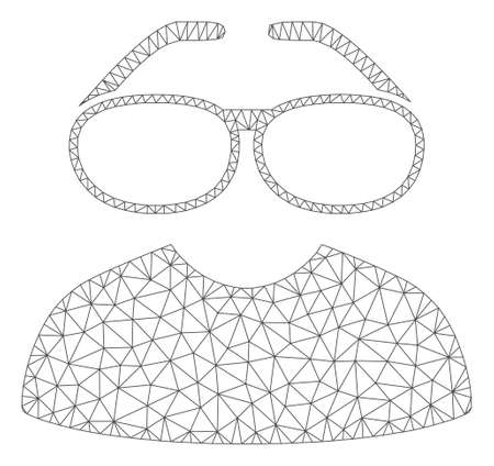 Mesh clever spectacles polygonal icon vector illustration. Carcass model is based on clever spectacles flat icon. Triangular mesh forms abstract clever spectacles flat model.