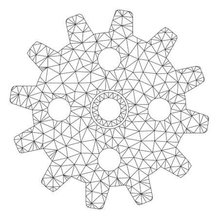 Mesh cogwheel polygonal 2d vector illustration. Model is based on cogwheel flat icon. Triangular network forms abstract cogwheel flat model.