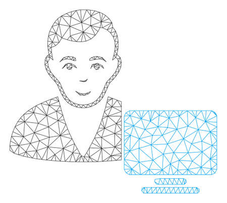Mesh computer user polygonal icon vector illustration. Carcass model is created from computer user flat icon. Triangular mesh forms abstract computer user flat model.