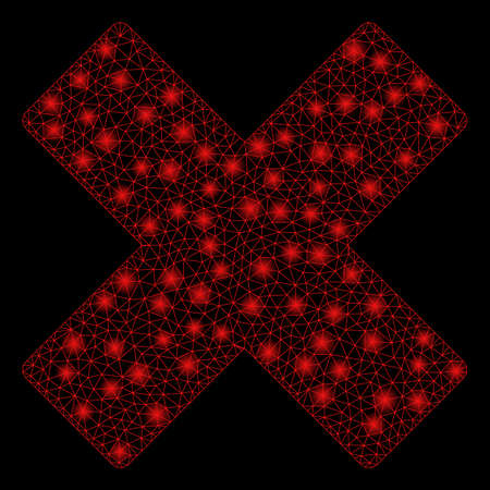Bright mesh delete x-cross with glow effect. Abstract illuminated model of delete x-cross icon. Shiny wire frame polygonal mesh delete x-cross abstraction in vector format on a black background. Illustration