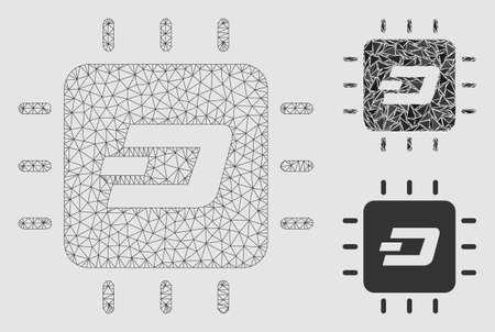Mesh Dash processor chip model with triangle mosaic icon. Wire carcass polygonal mesh of Dash processor chip. Vector mosaic of triangle elements in variable sizes and color shades. Illustration