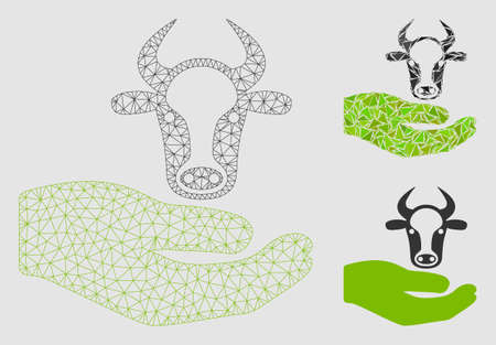 Mesh cow care hand model with triangle mosaic icon. Wire frame triangular mesh of cow care hand. Vector mosaic of triangle parts in variable sizes and color hues.