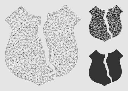 Mesh destroyed shield model with triangle mosaic icon. Wire frame polygonal mesh of destroyed shield. Vector mosaic of triangles in variable sizes and color shades. Çizim