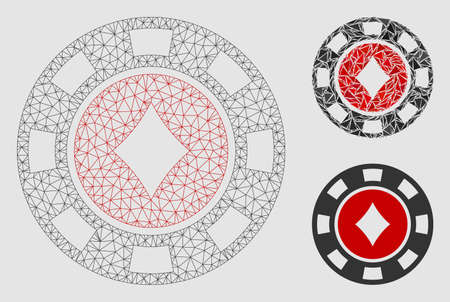Mesh diamonds casino chip model with triangle mosaic icon. Wire carcass polygonal mesh of diamonds casino chip. Vector composition of triangle elements in variable sizes and color tinges.