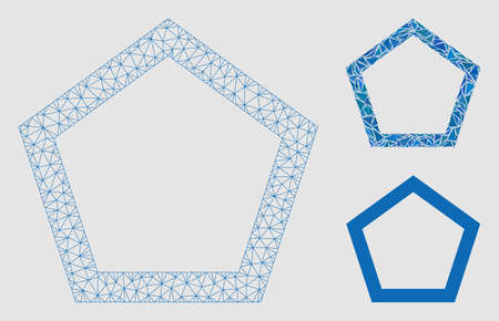 Mesh contour pentagon model with triangle mosaic icon. Wire frame polygonal mesh of contour pentagon. Vector mosaic of triangle parts in variable sizes and color tones.