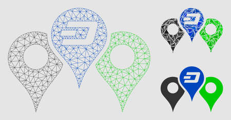 Mesh Dashcoin map markers model with triangle mosaic icon. Wire carcass polygonal mesh of Dashcoin map markers. Vector mosaic of triangle parts in variable sizes and color tints. Illustration