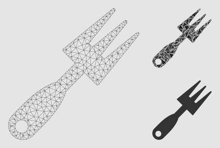 Mesh cultivator rake model with triangle mosaic icon. Wire frame triangular mesh of cultivator rake. Vector mosaic of triangle parts in variable sizes and color tints. 向量圖像