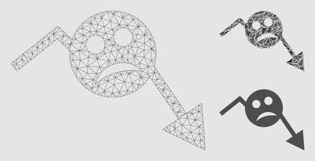Mesh depression smiley trend arrow model with triangle mosaic icon. Wire carcass triangular mesh of depression smiley trend arrow. Vector mosaic of triangles in variable sizes and color tinges.