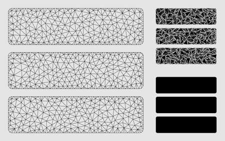 Mesh database model with triangle mosaic icon. Wire carcass triangular mesh of database. Vector mosaic of triangle elements in different sizes and color hues.