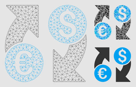 Mesh currency change model with triangle mosaic icon. Wire carcass polygonal mesh of currency change. Vector mosaic of triangle elements in various sizes and color shades.