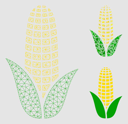 Mesh corn model with triangle mosaic icon. Wire carcass polygonal network of corn. Vector mosaic of triangle elements in various sizes and color shades.  イラスト・ベクター素材