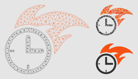 Mesh deadline fired clock model with triangle mosaic icon. Wire frame polygonal mesh of deadline fired clock. Vector mosaic of triangle elements in variable sizes and color hues. Illustration