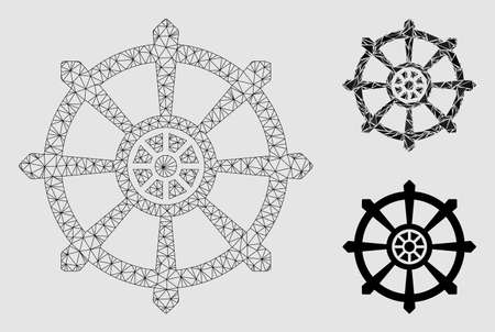 Mesh dharma wheel model with triangle mosaic icon. Wire frame triangular network of dharma wheel. Vector mosaic of triangle elements in different sizes and color shades.