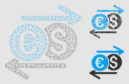 Mesh currency exchange model with triangle mosaic icon. Wire frame polygonal mesh of currency exchange. Vector mosaic of triangle parts in variable sizes and color tints.