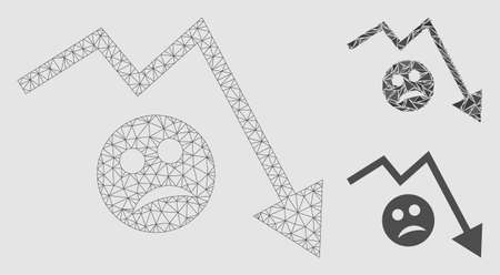 Mesh depression trend arrow model with triangle mosaic icon. Wire carcass polygonal mesh of depression trend arrow. Vector mosaic of triangle elements in different sizes and color tones.