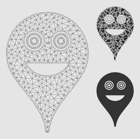 Mesh crazy smiley map marker model with triangle mosaic icon. Wire frame triangular mesh of crazy smiley map marker. Vector mosaic of triangle elements in different sizes and color shades.