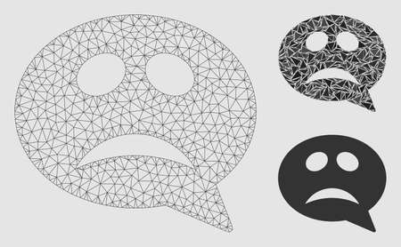 Mesh crisis smiley message model with triangle mosaic icon. Wire frame polygonal mesh of crisis smiley message. Vector mosaic of triangle elements in variable sizes and color tinges. Иллюстрация